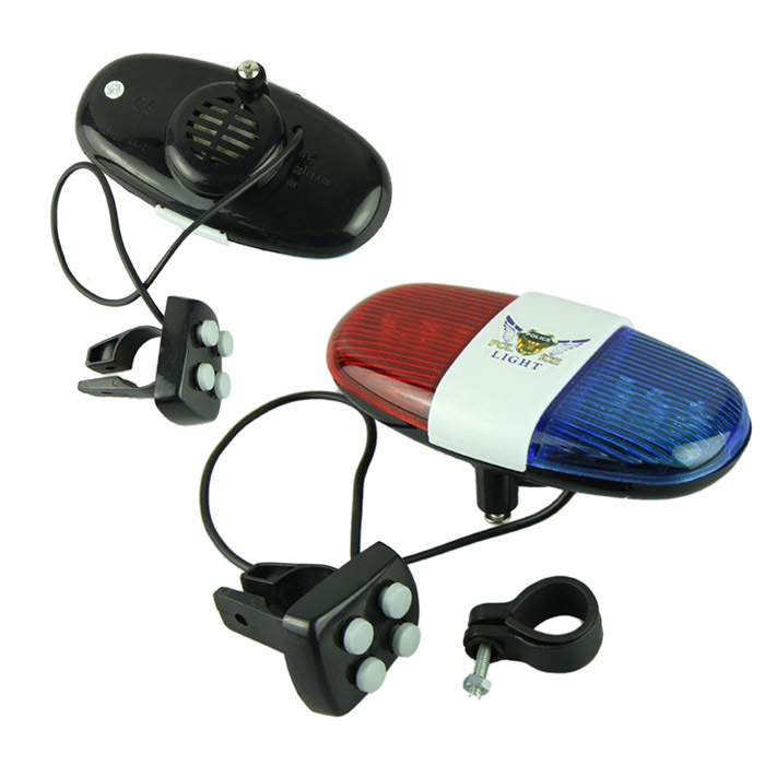 Delicate New Bike Bicycle Police Car 6 LED Light 4 Sounds Trumpet Cycling Horn Bell Hot Selling(China (Mainland))