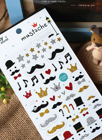 Freeshipping! NEW Funny 3D mustache series design sticker/Decoration labe tape/number pattern DIY stick/Multifunction/Wholesale<br><br>Aliexpress