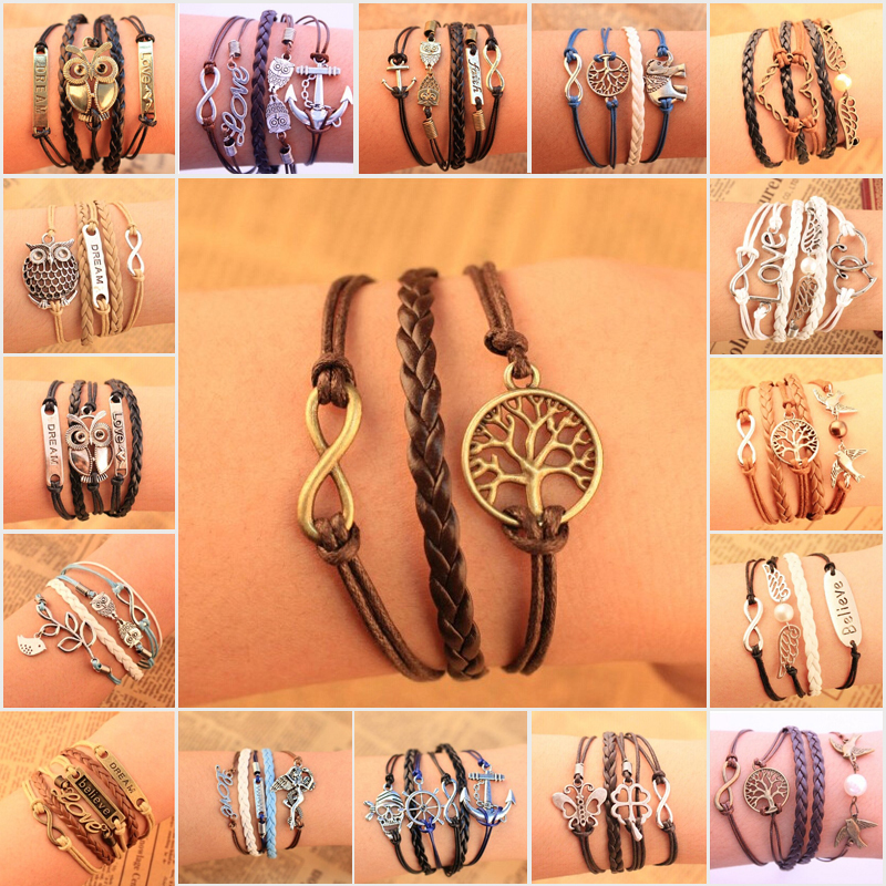 Wholesale Fashion Vintage Bird Tree Anchors Rudder Rope Owls Infinity Multilayer Leather bracelet jewelry for women 2014 M16(China (Mainland))