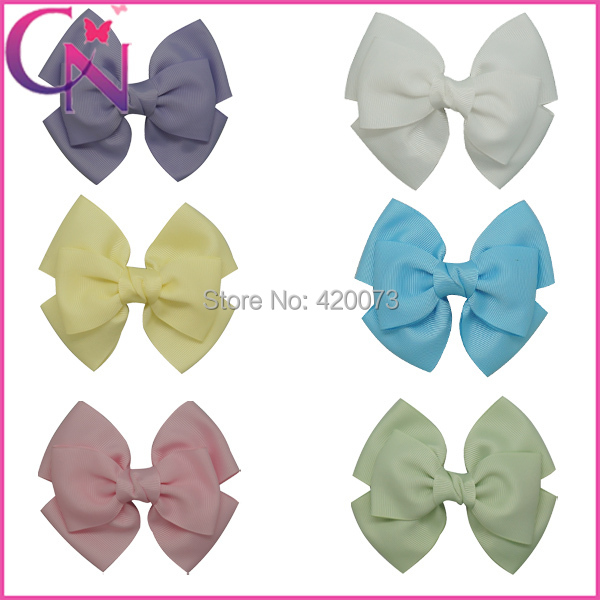 Wholesales-120pcs6color4.5 New 2Layers Grosgrain Ribbon Boutique Hair Bows Flowers with Clips For Girl/Baby/women CNHBW-1310193Одежда и ак�е��уары<br><br><br>Aliexpress