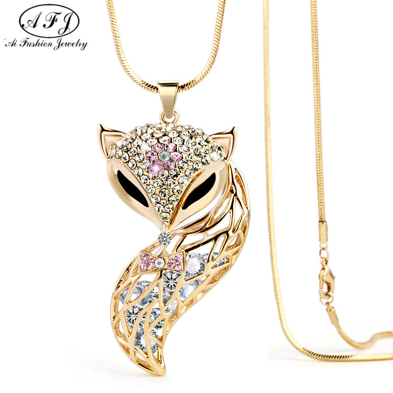 Charm New Arrival Fox Pendant Necklace Trendy Zinc Alloy Animal Snake Chain Long Necklace Rhinestone Necklaces For Women Jewelry(China (Mainland))