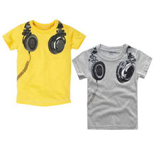 New Headphone Design T shirt Boys Kids Short Sleeve Tops T-shirt Tees 100%Cotton(China (Mainland))