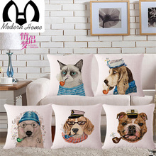Animals With Smoking Pipe Dog Wolf Fox Deer Panda Linen Cotton Throw Pillow Cover Pillowcase