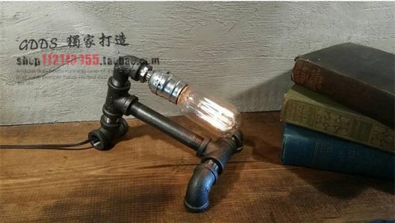 Loft Vintage Industrial Water Pipe Table Light Edison Desk Wood Lamp(China (Mainland))