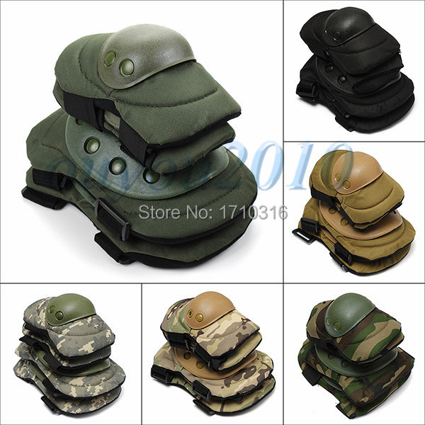 Best Price 6 Color Airsoft Tactical Adjustable Knee & Elbow Protective Pads Set Protector Gear Sports Hunting Shooting Pads(China (Mainland))