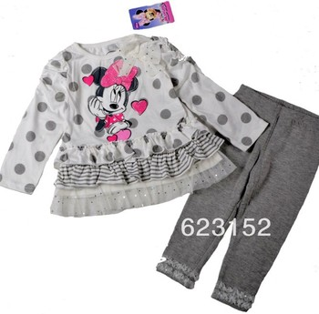 Children Two Pieces Set Girls Suit Minnie Mouse White T-shirt Dress + Gray Legging Cute Bowknot Minnie Long Sleeve for Autumn