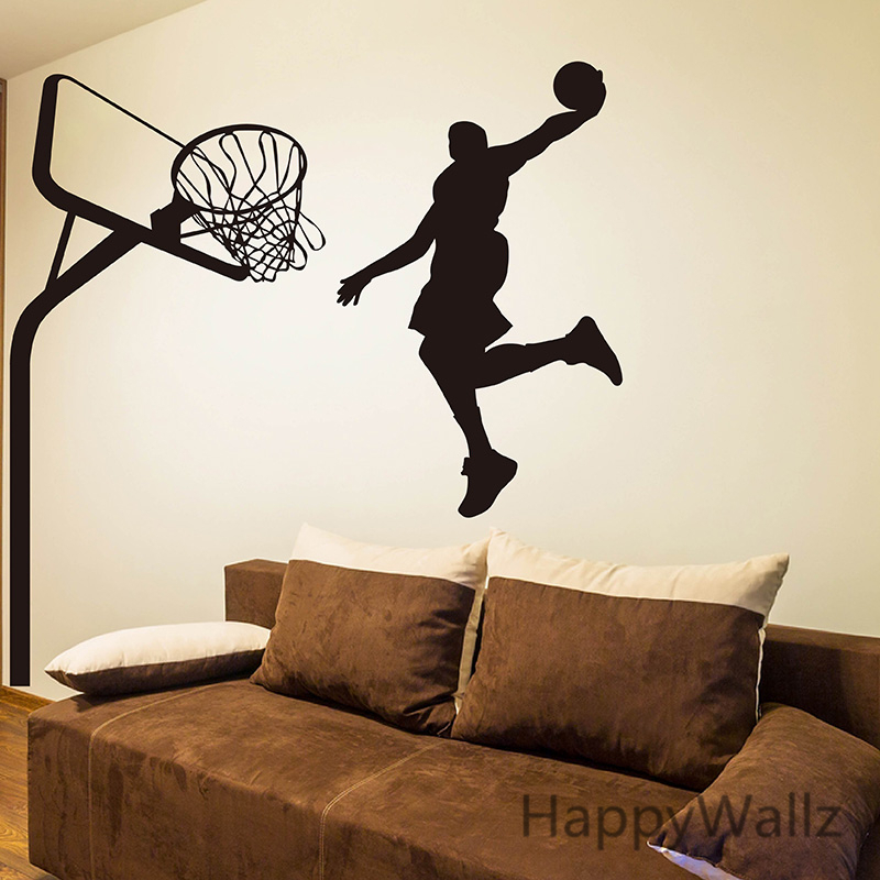 Basketball Wall Sticker Basketball Player Wall Decal DIY Sport Wall Decals Children Decors Removable Wall Decoration S9(China (Mainland))