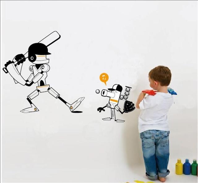 Рождественский подарок 84 * 46 см мультфильм робот играть в бейсбол наклейки детская комната декор мальчик помещений украшения