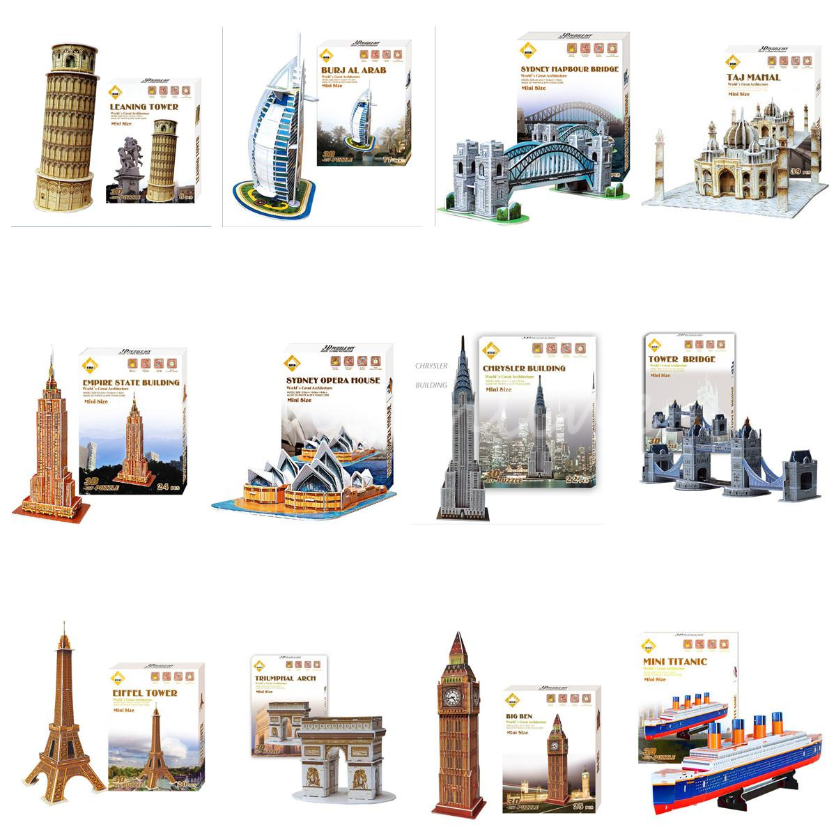 10 models Optional Intelligent Game Carboard Jigsaw 3D Puzzle Burj Al Arab DIY Educational Birthdays Toy for kids Tower Bridge(China (Mainland))