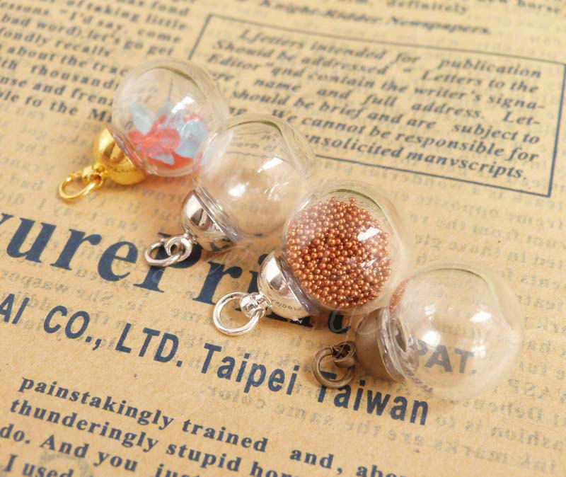 50set--4x14mm round shape clear glass bubble wishing bottle & end top connector for diy jewelry materials--- need glue