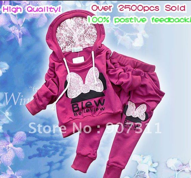 4sets/lot 3colors kids sport wear Baby Clothing Set girls sport suit Baby Clothes Baby Garment Sport Suit Fashion Butterfly Set