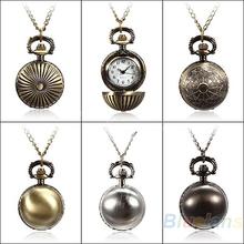 Mínima. 16 5 colores Antique Vintage Retro bola de Metal Steampunk cuarzo colgante , collar de cadena reloj de bolsillo pequeño para el regalo 02CU 2UVB