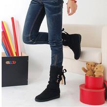 HEE grandes 2018 Botas Novas Mulheres da Moda Outono Sapatos com Lace-up Mid-Calf Saltos Lisos Sólidos PU botas Mujer Sapatos XWX7001(China)