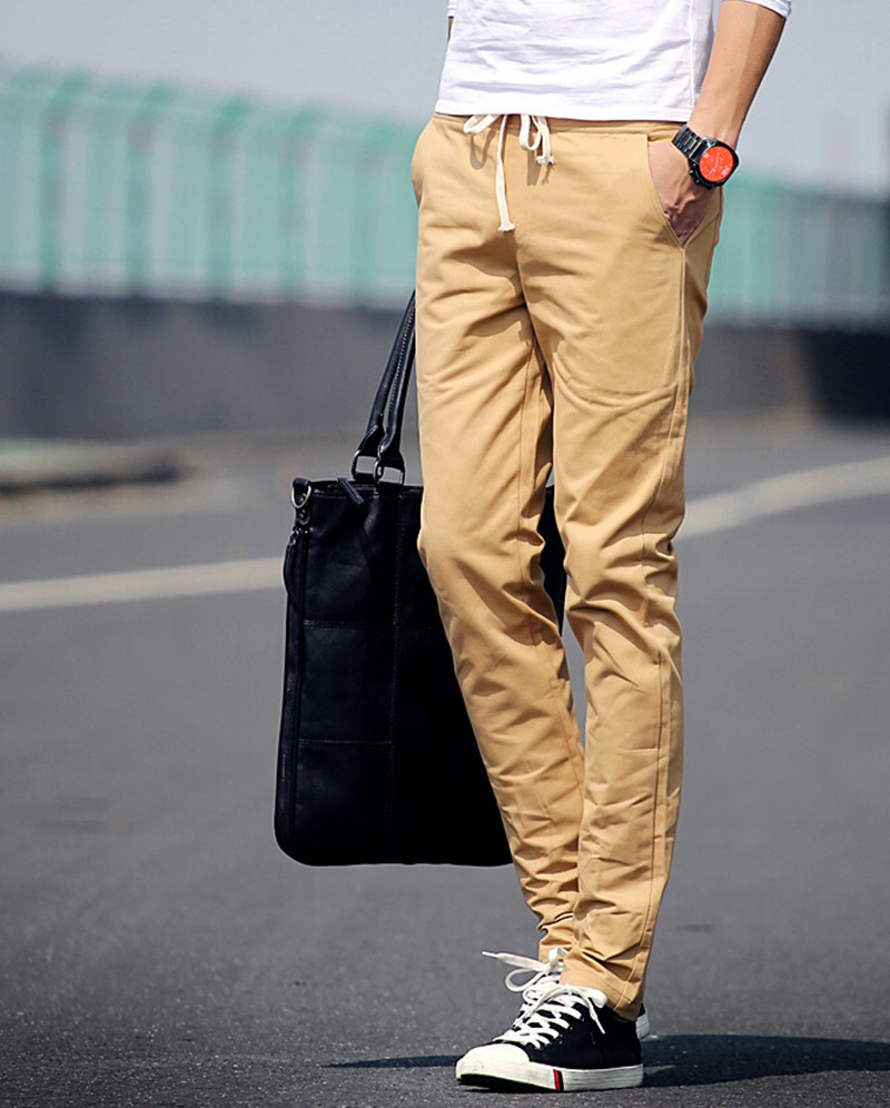8 colors 2015 Jogger Fashion Fit Mens Casual Pants New Design Business Trousers High Quality Cotton Pants Free Shipping(China (Mainland))