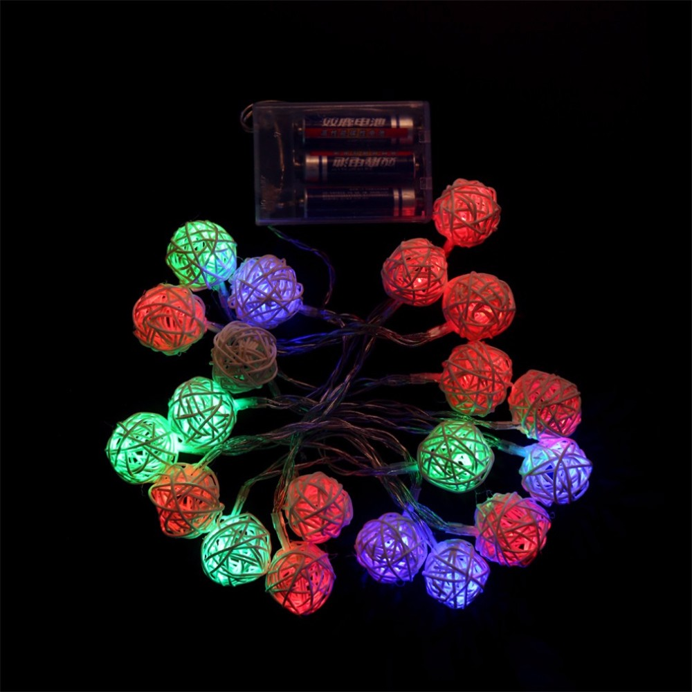 2017 Super Deal 2.2M 20 LED Warm White Rattan Ball LED String Lighting Holiday Christmas Wedding Party Curtain Decoration Lights