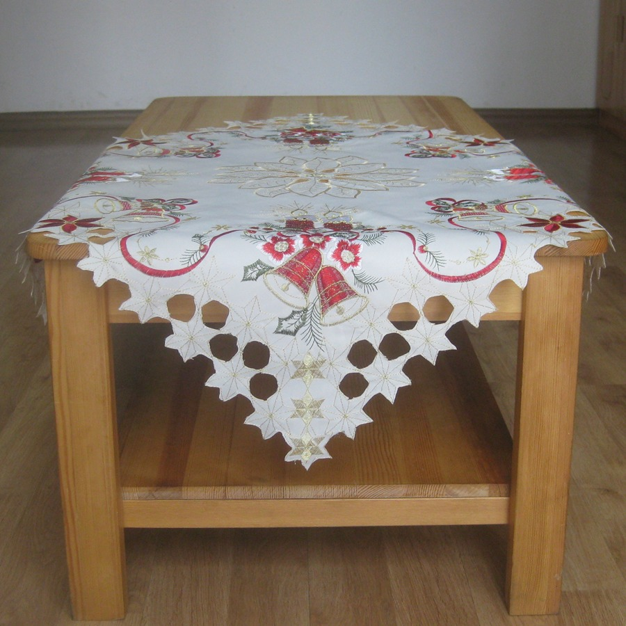 New 85 85cm christmas embroidery tablecloth polyester for 85 table overlay