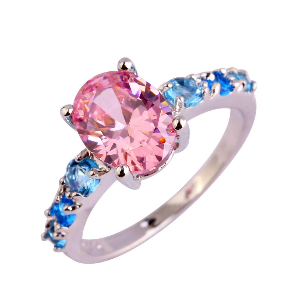 Fashion Lady Sweet Jewelry Pink Sapphire & Blue Topaz Silver Bling Ring Size 6 7 8 9 10 11 12 13  -  HI jewelry Co., Ltd. store