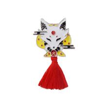 1 PC Kitsune Pin Jepang Rusa Kelinci Ular Fox Kabuki Ninja Masker dengan Rumbai Merah Bros Lencana Kerah Pin Lencana bros(China)