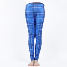 MOKAWA New Fashion and Breathable Women's Ankle-Length Tartan Blue Leggings Standard High Quality Mid Waist Leggings for Sport