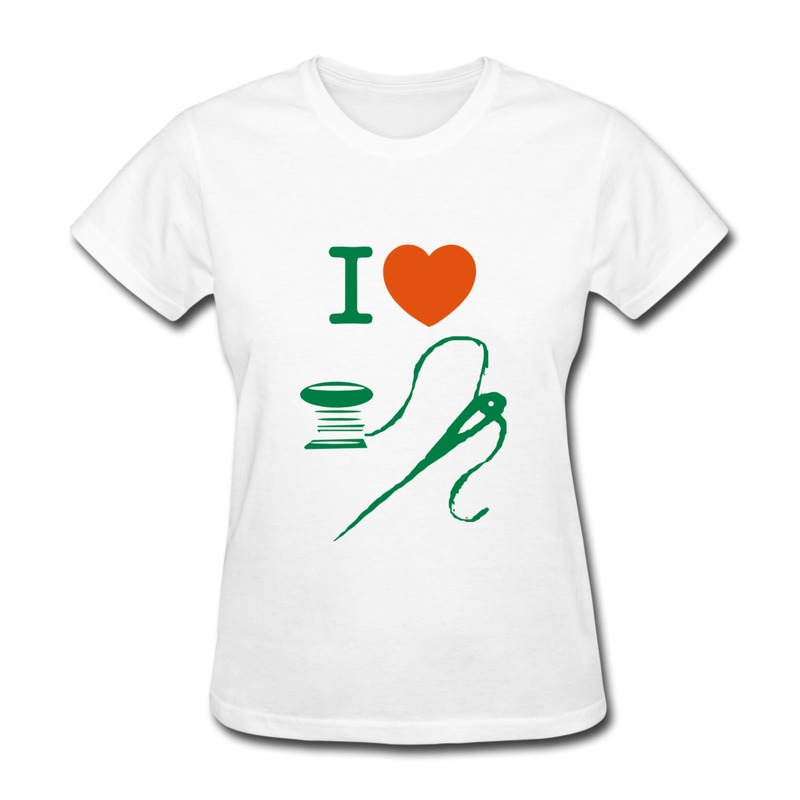 Casual women 39 s t shirt i love sewing cotton thread needle for T shirt logos and design