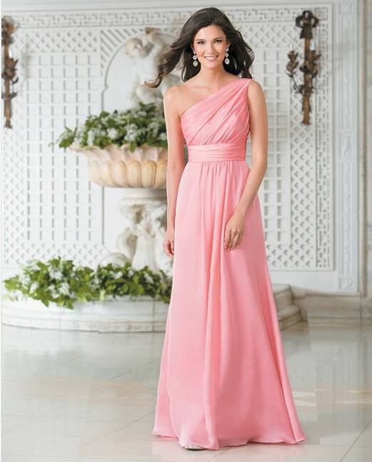 Fashion pink chiffon long bridesmaid dresses 2016 one for One shoulder dress for wedding guest