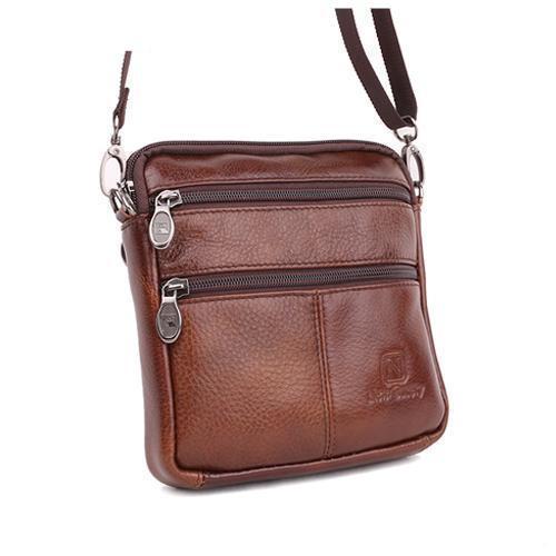 Famous Brand 100 Guarantee Real Cowskin Men Shoulder Crossbody Bags Fashion Double Zipper Design Men Messenger