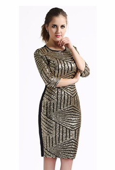 New Fashion 2016 Geometric Party Club Evening Wear Golden Woman Sequins Backless Bodycon Pencil Dress Sexy Slim Club Dresses