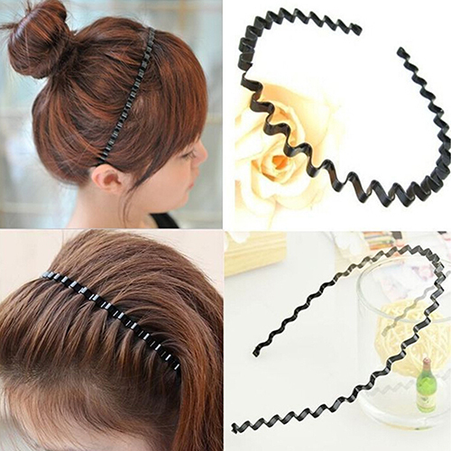 Mens Womens Unisex Black Wavy Hair Head Hoop Band Sport Headband Hairband Fashion 9HN8