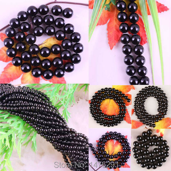"""Natural 2-12MM Black Agate Circular Loose Beads Strand 15.5""""L Spacers Beads Fit Necklace Bracelet(China (Mainland))"""
