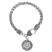 Talisman Wiccan Pentacle Star Moon Pentagram Lucky Charms Bracelets(China (Mainland))