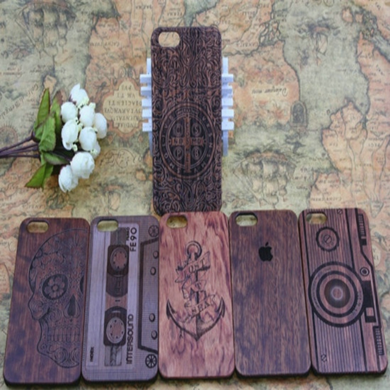 High Quality 100% Real Natural Wood Raw Wood bamboo wooden Carving Case for iphone 6 4.7 Retro Pattern Animal Wood Hard Case(China (Mainland))