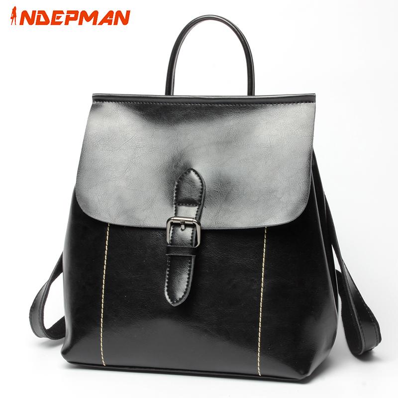 Mochila Feminina Backpack Women Genuine Leather Back Pack Fashion Backbag School Bag for Teenage Girls Black 20-35L(China (Mainland))