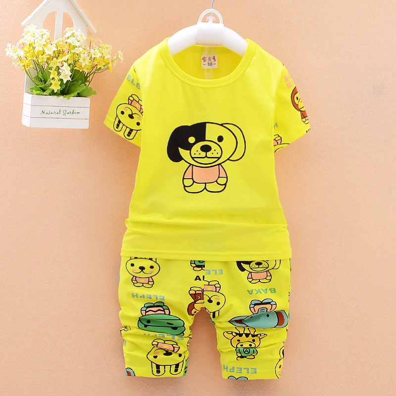 Summer Kid Boy clothes sets short sleeve Cute Dog T-shirt with cropped trousers children suit boy sets causal sports clothes(China (Mainland))