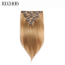 Buy Rechoo Straight Peruvian Clip Human Hair Extensions #27 Color 16 26 Inches Non-remy Hair Clip Ins Full Head Set 120 Gram for $72.67 in AliExpress store