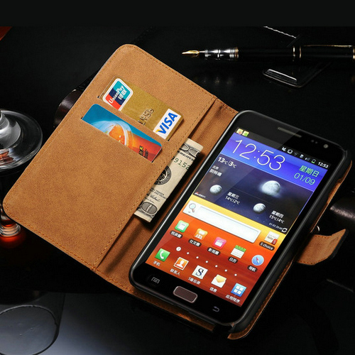 Classic Real Leather Stand Design Case for Samsung Galaxy Note N7000 i9220 Luxury Phone Cover with Card Slot Book Style(China (Mainland))