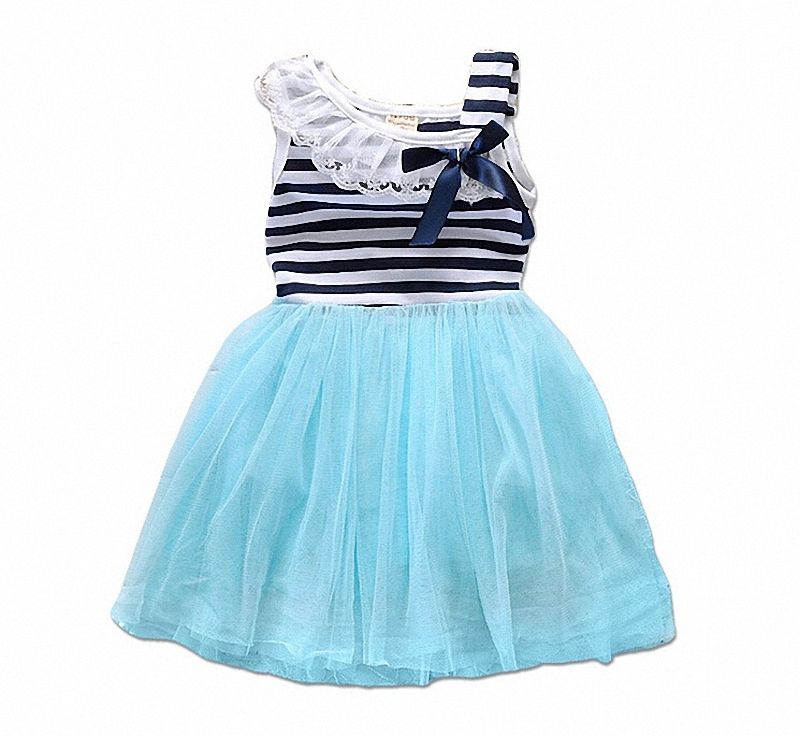 baby girl striped dress kids lace summer style Puffy Tulle dresses children bowknot sleeveless clothing(China (Mainland))