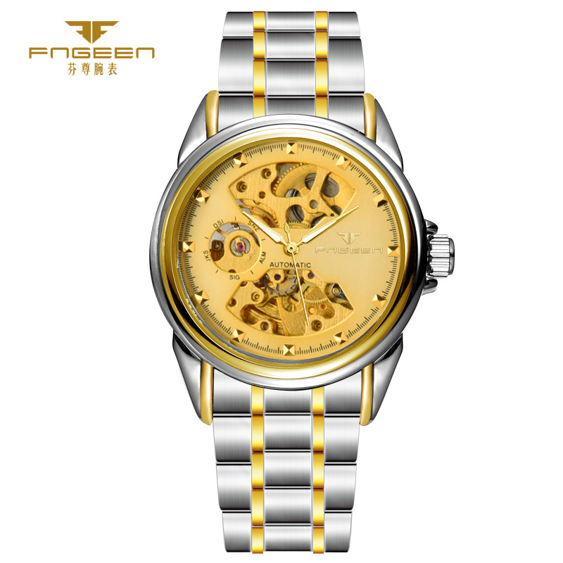 hollow business automatic mechanical skeleton mens