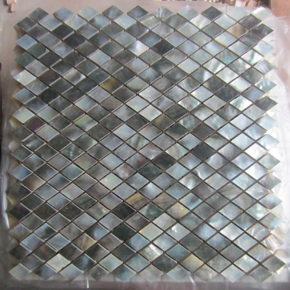 Black Lip Shell Mosaic Tile On Mesh With Ceramic Tile Base