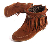 US5-9  Suede  Leather Moccasin Fringe Tassel Ankle Boots womens  wedge shoes