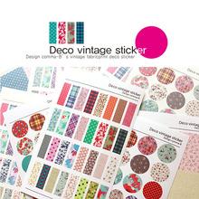 12 hoja / lot deco vintage floral papel etiqueta diy scrapbooking diary sticker post it kawaii material escolar papelería(China (Mainland))