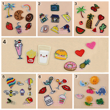 7 Sets, Assorted Popcorn Drinks Hamburger Raionbow Fruit Embroidered Iron On cartoon Patches DK Fashion Appliques DIY Accessory(China (Mainland))