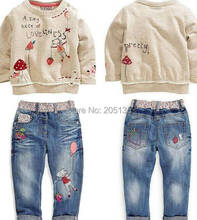 2015 New Winter baby girls clothing set Children kids cartoon sweater+jeans set toddler girls Autumn clothes Retail(China (Mainland))