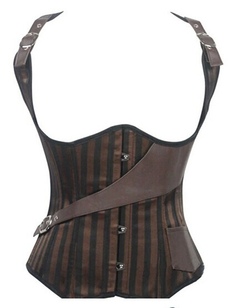 Women'S Sexy Brown Leather Vest 32