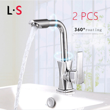 Buy 2 Sets Swivel Spring Kitchen Faucet Single Hole Water Tap Solid Brass Mixer Cold Hot Kitchen Tap Single Handle L&S F16021 for $7.68 in AliExpress store