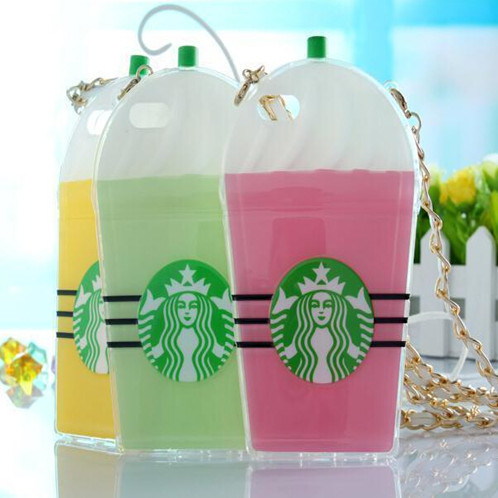 2015 Starbucks Coffee Cup Case Cover Skin Apple iphone 5 5S 5G Phone Cases Soft TPU Chain Green/Pink/Yellow - Beauty Mobile store