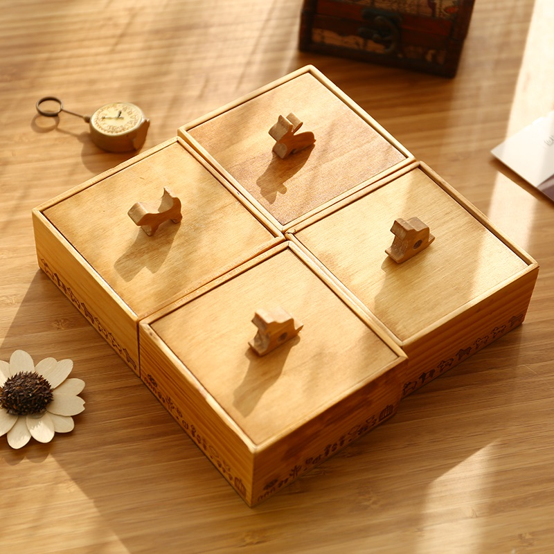 Cute Square Vintage Wood Box Sundries Jewelry Wooden Storage Box Creative Small Desk Organizer Box(China (Mainland))