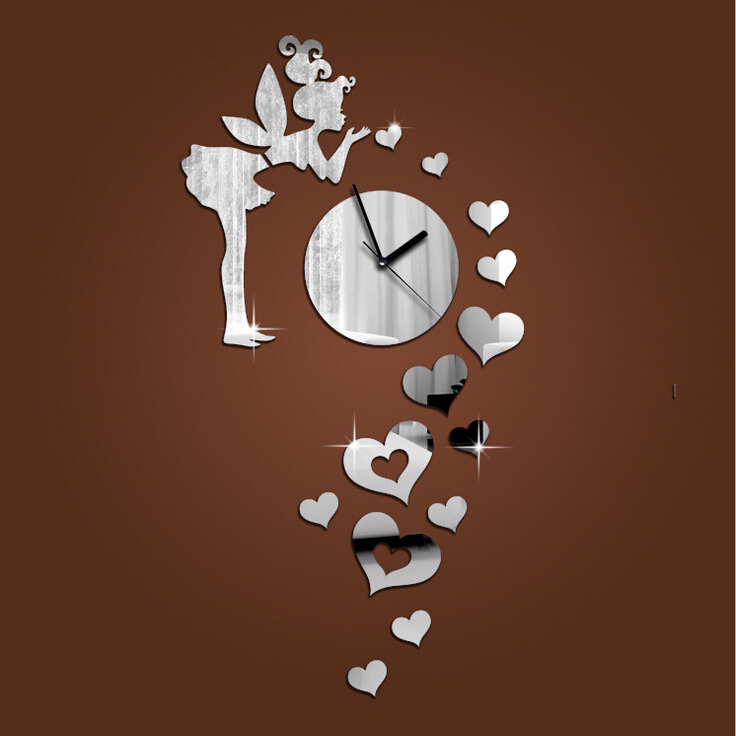 Angel hearts mirror wall clock reloj diy wall sticker for Modern decorative items for home