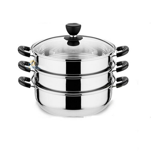 Stainless steel food steamer 3 layers multifunction kitchenware cooking pot steamer stock pot boiler cooking tool Q-165(China (Mainland))