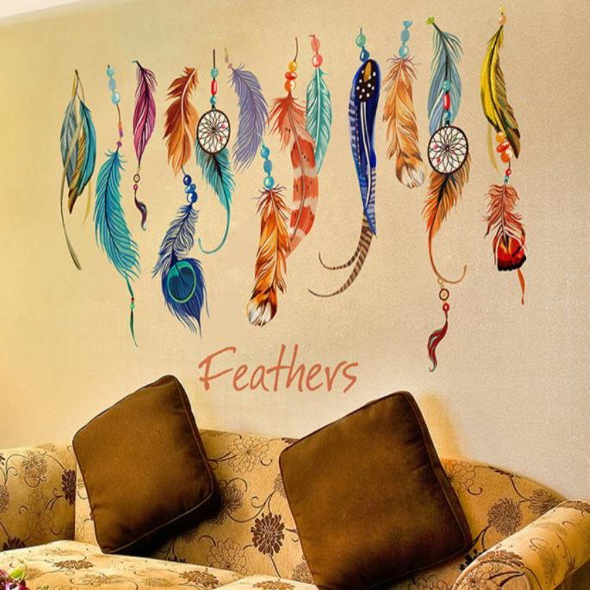 Top Grand Classic Creative Dream Catcher Feather Wall Sticker Art Decal Mural Lucky Bedroom Living Wallpaper Home Decoration(China (Mainland))