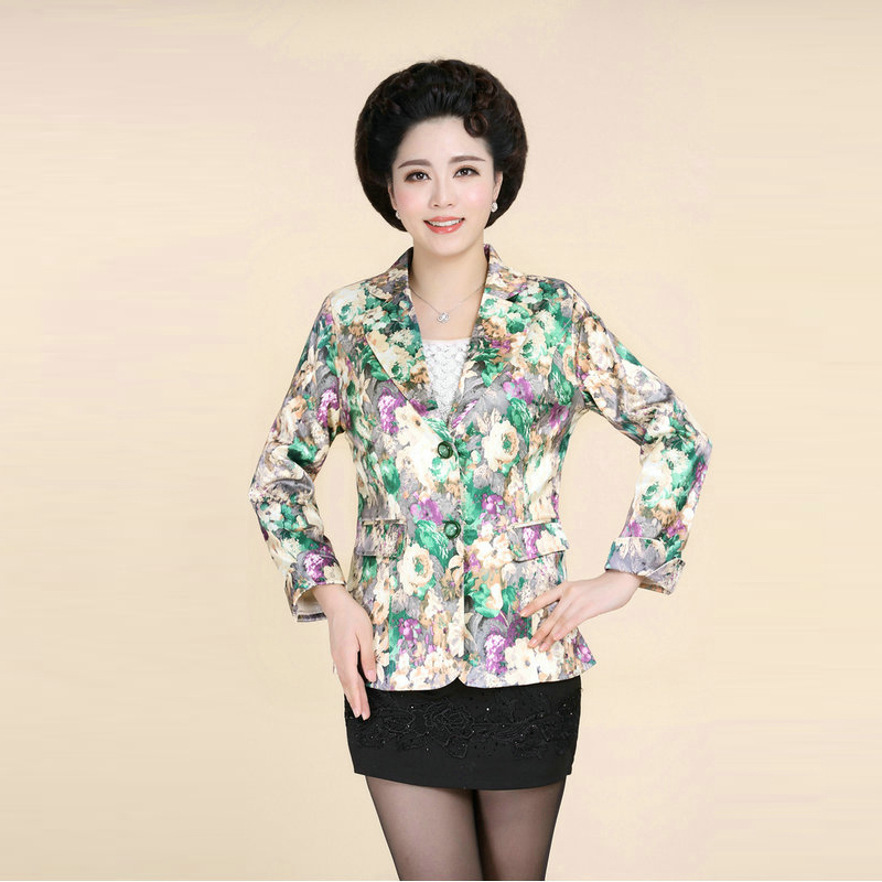 2015 Fall Jaqueta de Couro Feminina Business Casual Clothings Women Office Blazers Floral Pattern Plus Size Blazers Slim Prinred(China (Mainland))